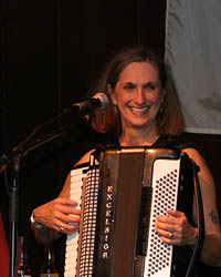 Frances Barton and her accordian.
