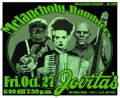 Playbill The Melancholy Ramblers green Halloween theme